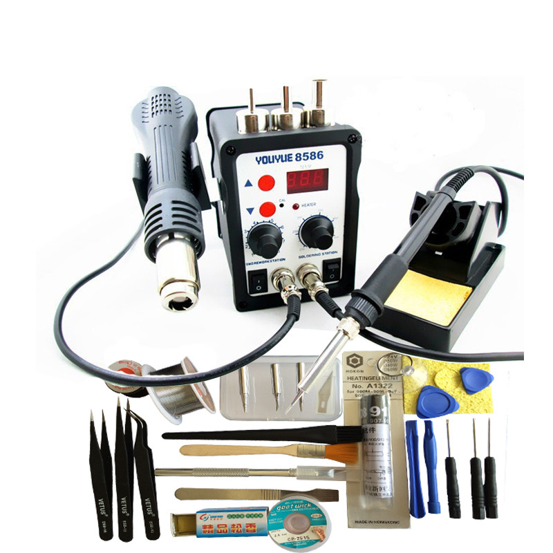 hihg quality YOUYUE 8586 110V / 220V 700W 2 in 1 SMD Rework Soldering Station Hot Air Gun + Solder Iron With Free Gifts