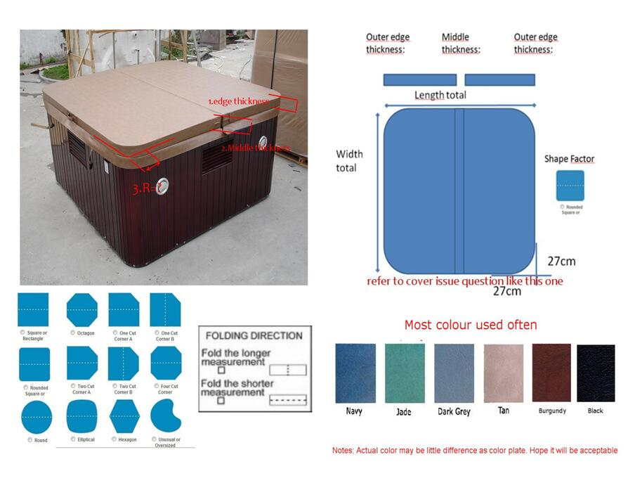 1940mmX1540mm 2-3 person hot tub spa cover leather skin , can do any other size other spa spa
