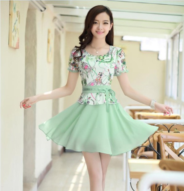 a9c94e1e02bd New Korean ladies summer dress plus size skinny end of India and lace short  sleeve chiffon dress-in Dresses from Women s Clothing on Aliexpress.com ...
