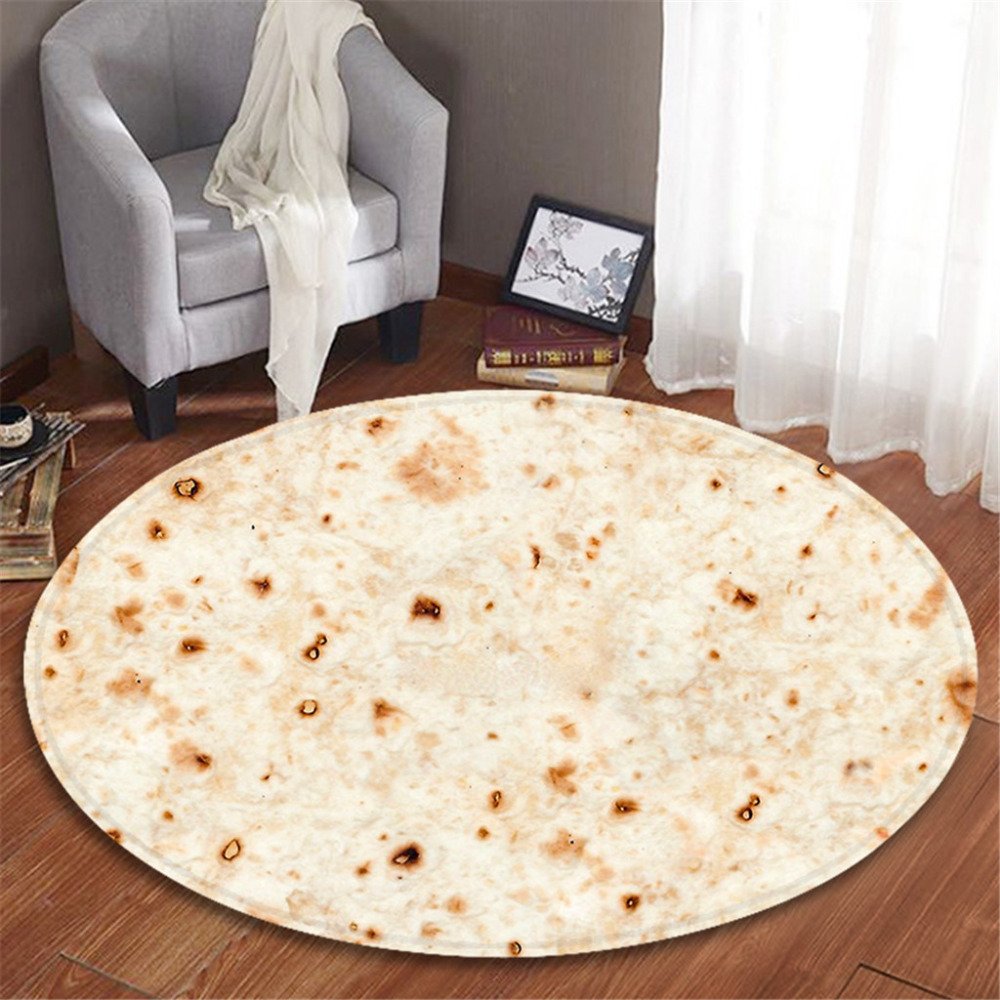 Smart Home Smart Electronics Creative Burrito Wrap Blanket Special Round Bathroom Carpet Comfort Travel Bus Car Rest Food Shape Home Insulation Blanket