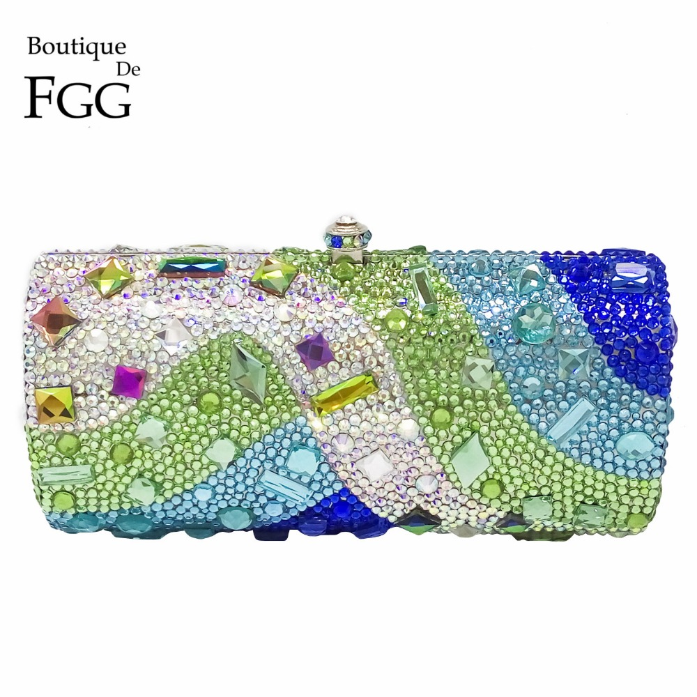 Boutique De FGG Multi Green Women Crystal Evening Clutch Purse Hard Case Metal Minaudiere Handbag Bridal Wedding Party Bag