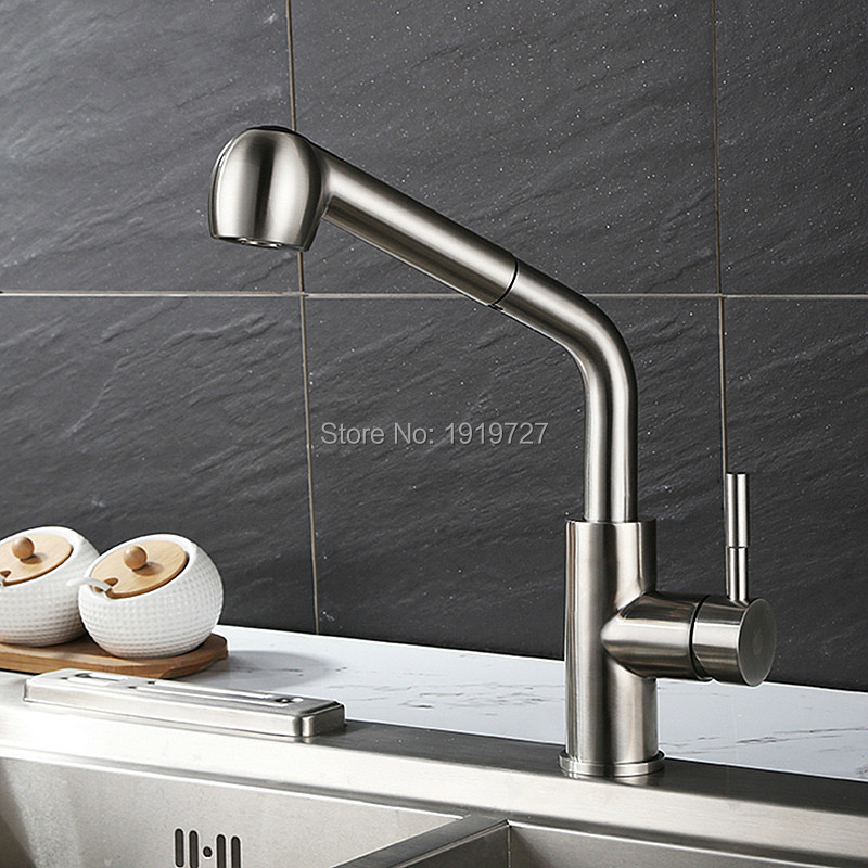100% Solid Brass Construction Spout 360 Rotating Swivel Spout Single Hole Reflex Pull Out Kitchen Faucet With Pullout Spray Head antique brass swivel spout dual cross handles kitchen