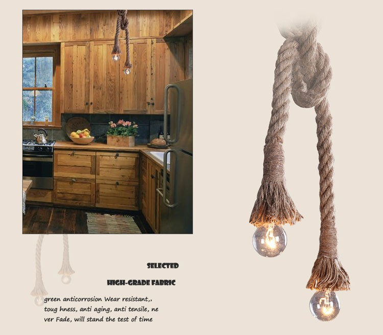 D50 Retro Pendant Light Antique Hemp Vintage Rope Pendant Light Living Room Dining Room Cafe Coffee Decor Pendant Free shipping