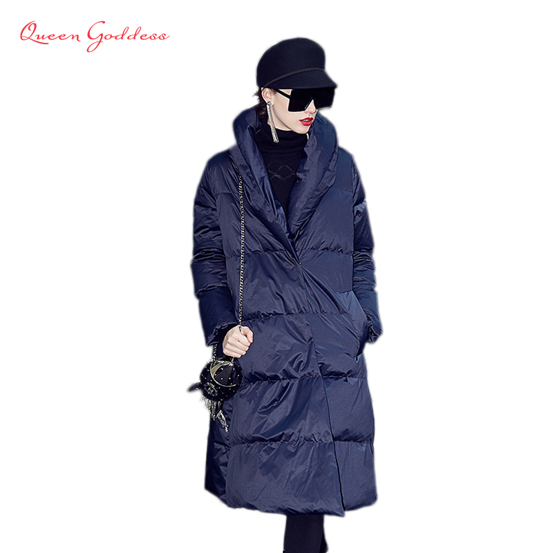 2018 spring european all star popular collection women slim and elegant style down jacket warm long parkas winter causal coat