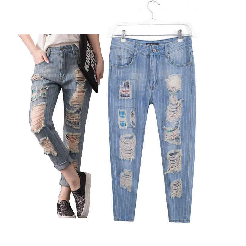 ФОТО Women's  casual big plus size clothing denim hole ripped jeans pants trousers for female