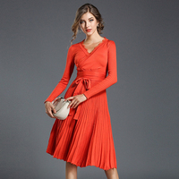New 2017 Autumn Winter Dress Vintage V neck Slim Pleated Knitted Dresses High Quality Solid color Elastic Sweater dresses