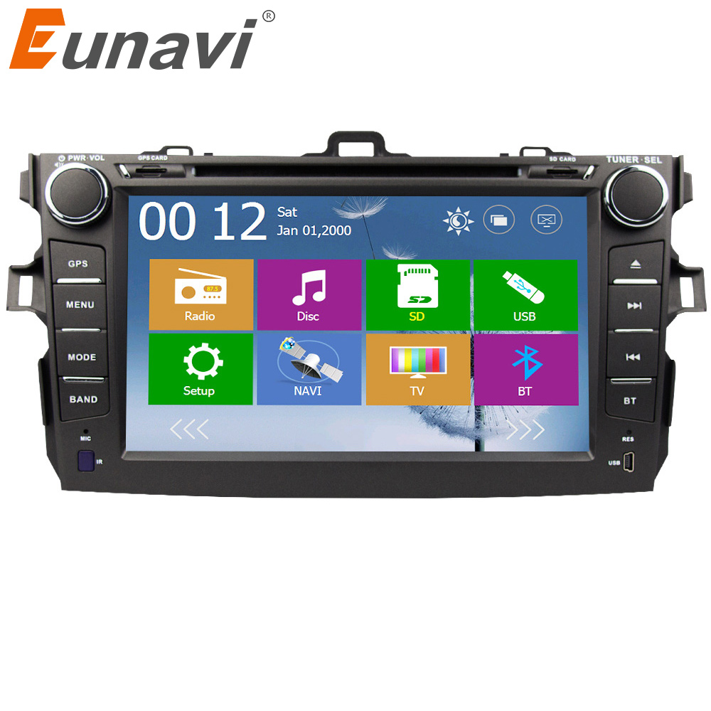Eunavi 2 din car dvd player for Toyota Corolla 2007 2008 2009 2010 2011 2din Car Radio 8'' autoradio stereo with GPS Navigation
