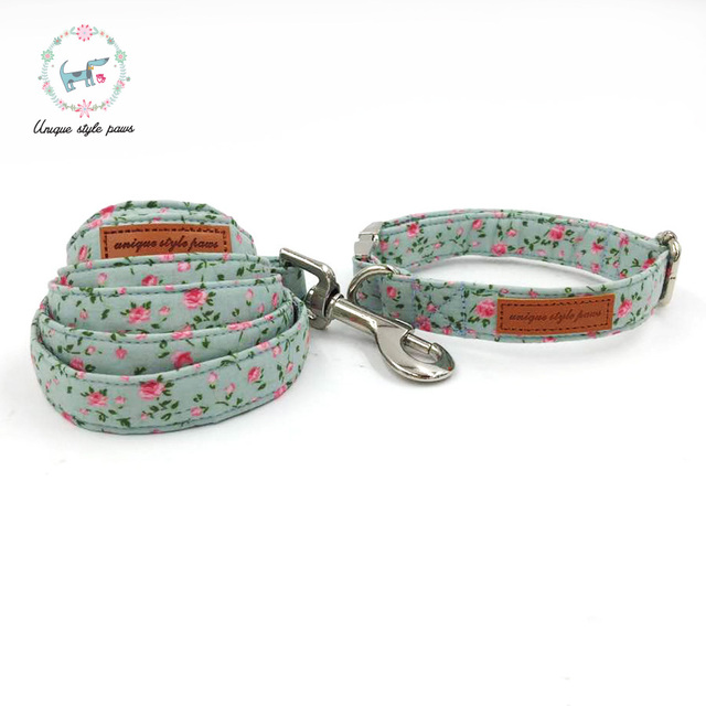 Rose Floral Collar and Leash Set with Bow Tie 1