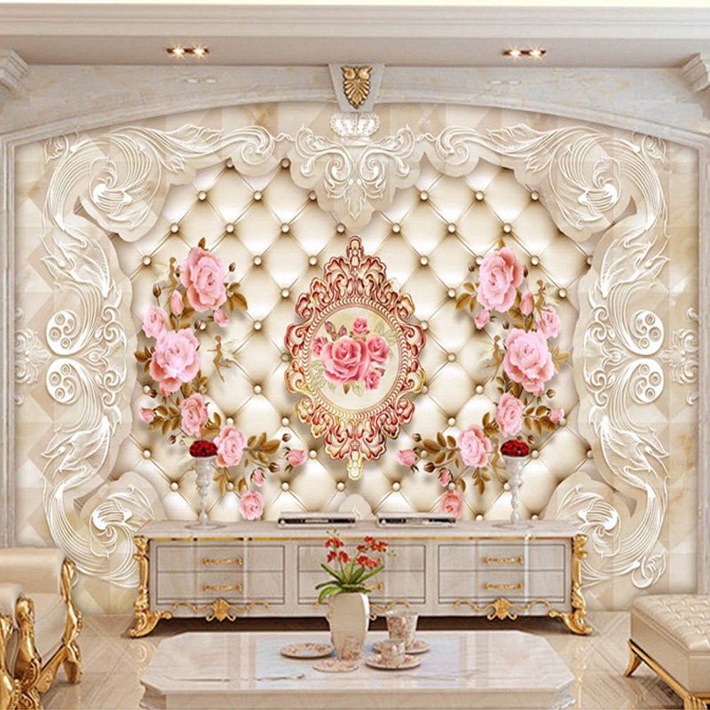 Bacaz New 8D Emboss Large Mural Pink 3d Rose Wallpaper Mural 3D Wall Mural Wall paper for Wedding Room Sofa TV Background free shipping 3d cartoon graffiti mural living room sofa background wall coffee house tv restaurant bar wallpaper mural