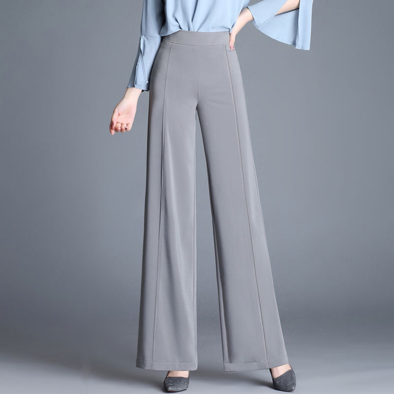 2018 New Women Straight Fashion   Wide     Leg     Pants   High waist Female Loose Office Lady Thin Trousers For Spring Summer Solid Color