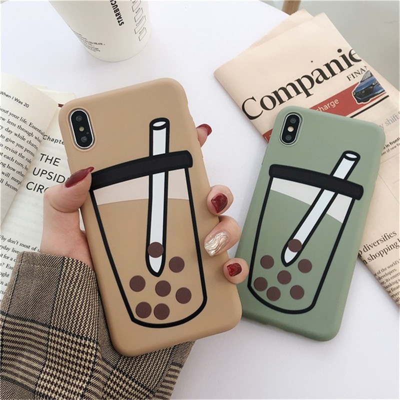 Funny Milk Tea Pattern Phone Case For iphone XS Max XR X 6 6s 7 8 plus Cover Fashion Cartoon Soft shell Cases