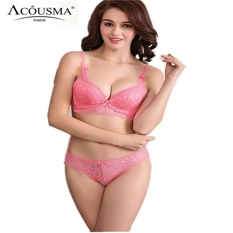 e03f4510e5 Famous Brand Lace Embroidery Women Underwear Set Sexy Deep V Push Up Bra  and Panty Set Soutien gorge