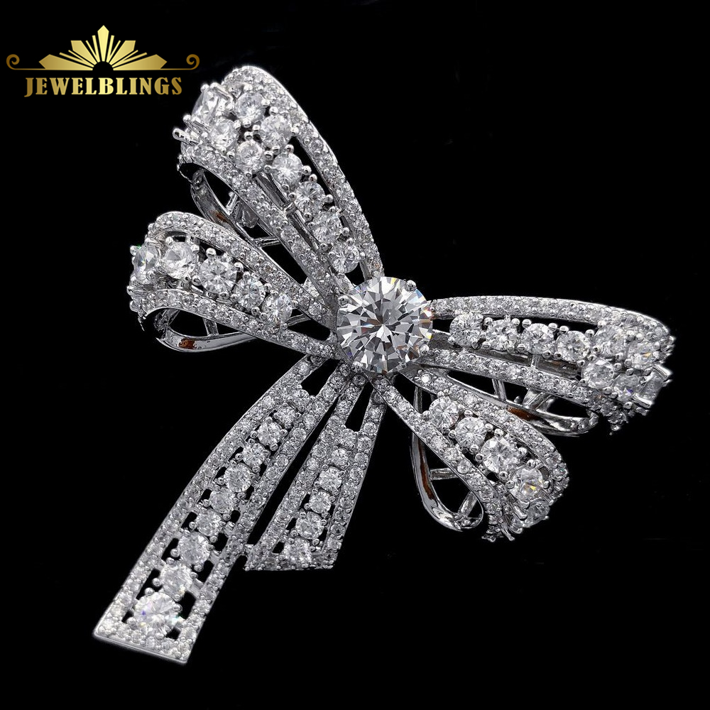 Chic Vintage Micro Pave CZ Bowknot Bow Brooch Silver Tone Domd Round Stone 4-prong Opens Studded Bowtie Pins Victorian JewelryChic Vintage Micro Pave CZ Bowknot Bow Brooch Silver Tone Domd Round Stone 4-prong Opens Studded Bowtie Pins Victorian Jewelry