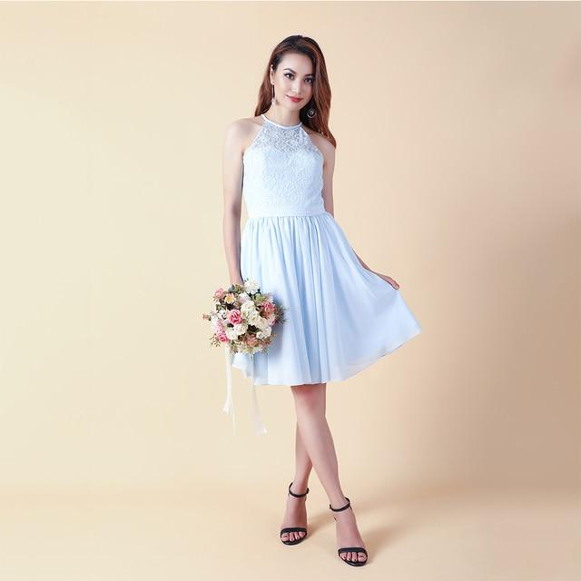 Cazdzy halter neck chiffon knee dress bridesmaid dresses with illusion lace  homecoming dress zipper back graduation dress 105fbe96bb2b