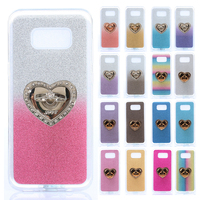 Bling Glitter Gradient color metal Ring fundas IMD stand phone case For Samsung Galaxy S8 5.8