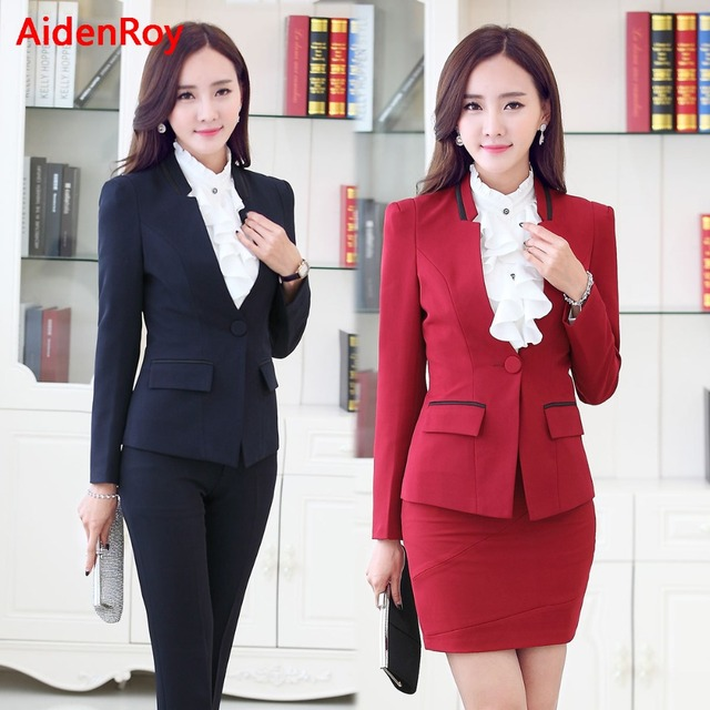 Women's Formal Business Suits Formal Office Uniform Elegant Ladies Trouser Suit Female Work wear Shirt 2 3 Piece Sets Black Red