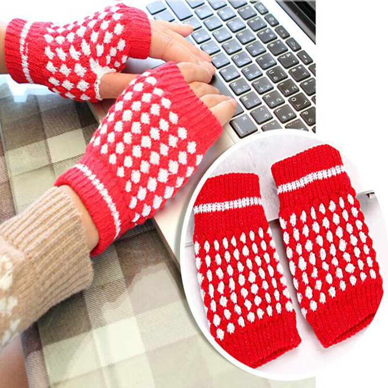 New Hot Winter Warm Knitted Fingerless Gloves Pine