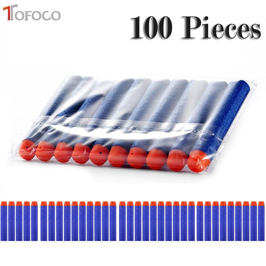 TOFOCO 100PCS 7.2cm 소프트 할로우 홀 머리 리필 다트 장난감 총 총알 시리즈 발파공 Xmas 어린이 어린이 선물