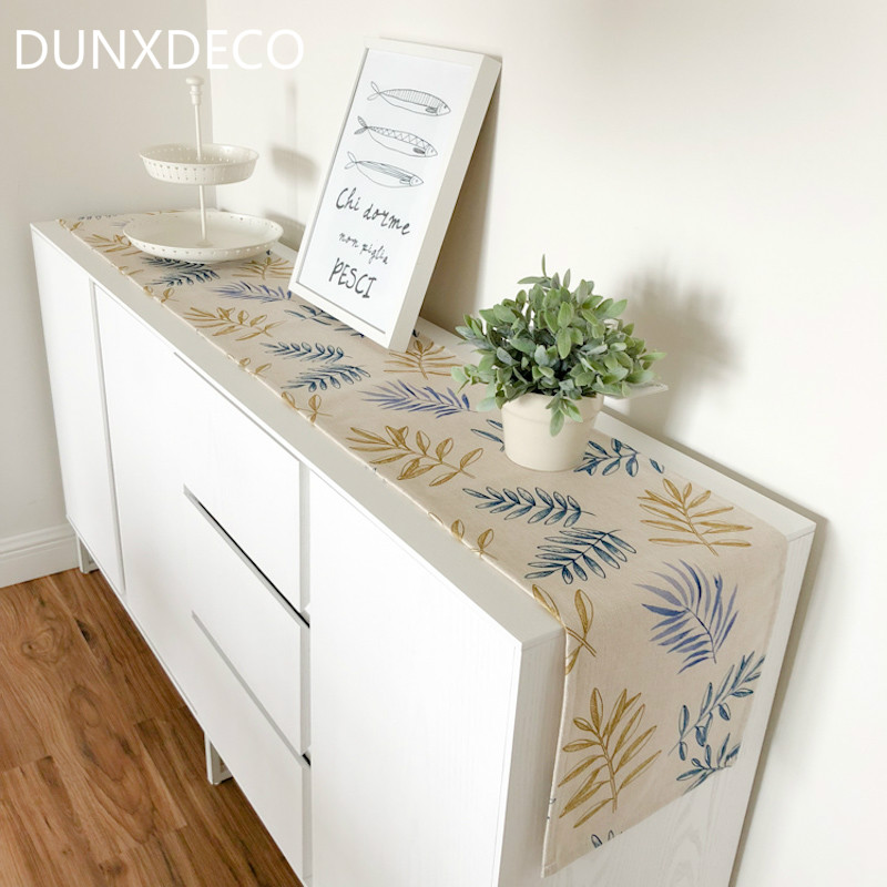 DUNXDECO Table Runner Long Table Cover Fabric Dinner Party Tabelcloth Modern Nordic Plants Fresh Leaf Linen Cotton Blend Textile