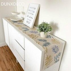 Dunxdeco mesa runner longo capa de mesa tecido jantar festa tabelcloth moderno nórdico plantas folha fresca linho mistura algodão têxtil