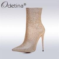 מגפי קרסול הבוהן מחודד זהב גליטר Odetina 2017 מעצב חדש גודל גדול נעלי עקבים גבוהים דקים נשים מגפי רוכסן צד 33-43