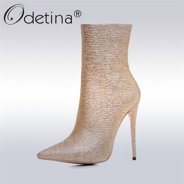 Women's Side Zipper and Glitter Pointed Toe Stiletto Boots
