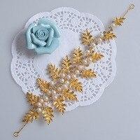 Julio nueva manera Coreana hojas de oro perla rhinestone pelo de la boda accesorios tiara nupcial del tocado suave
