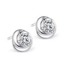 цена Promotion 925 sterling silver fashion shiny crystal flower ladies`stud earrings jewelry female birthday gift Anti allergy cheap в интернет-магазинах