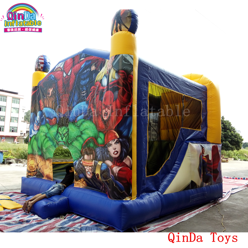 4.5*4.5*4.5m inflatable jumping castle with slide, inflatable bouncer house for sale 6 4 4m bounce house combo pool and slide used commercial bounce houses for sale
