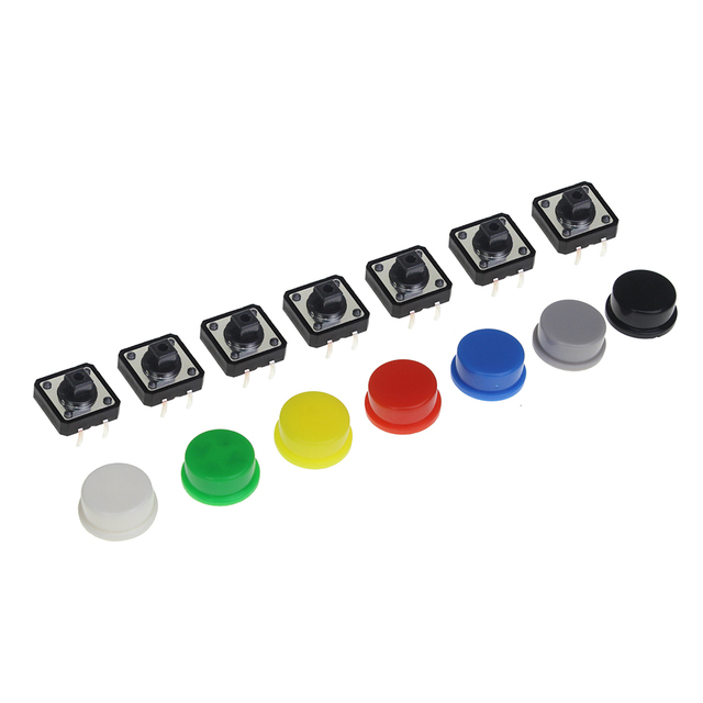 10pcs. Tactile Push Button Switch Momentary 12*12*7.3MM Micro Switch Button + 10PCS 5 colors Tact Cap