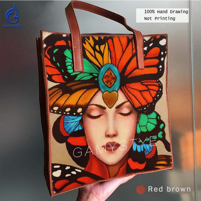 цена на Gamystye Genuine Leather Women Handbag Art Hand Drawing Oil Painted Print Grain Cowhide Leather Bag Handbags Totes Gift to wife