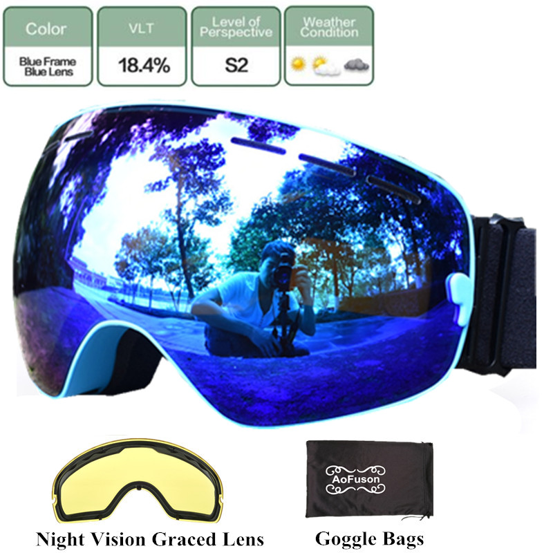 3a28d176f0a6 Dropwow Brand ski snowboard goggles with Yellow night vision lens ...
