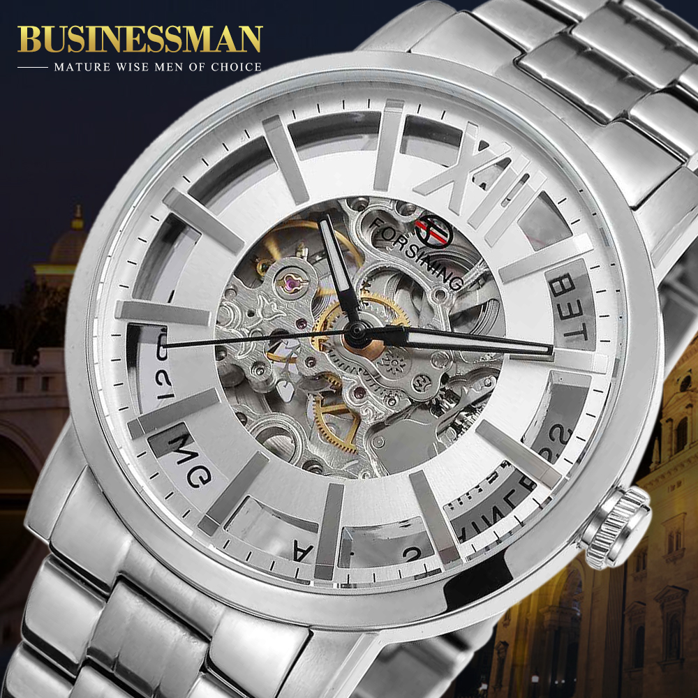 Forsining Analog Automatic Watch Men Waterproof Casual Business Watch Men Steel Wristwatch Relogio Masculino 2015 forsining relogio pmw342