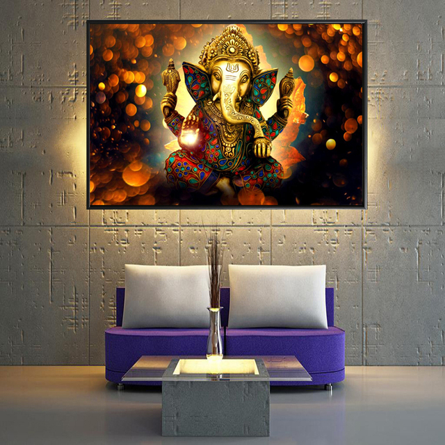 Ganesha Gods Canvas Paintings For Living Room Hindu Gods Home Decorative  Pictures Wall Art God Of