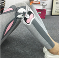 Summer otoño estilo de las mujeres de moda de primavera marcas bugs bunny pato negro blanco elasticidad 100% algodón leggings gimnasio pantalones
