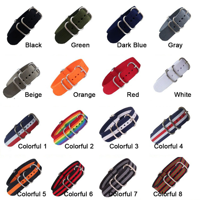 18mm 20mm 22mm 24mm Army Sports Nato Strap Fabric Nylon Watchband Buckle Belt fo