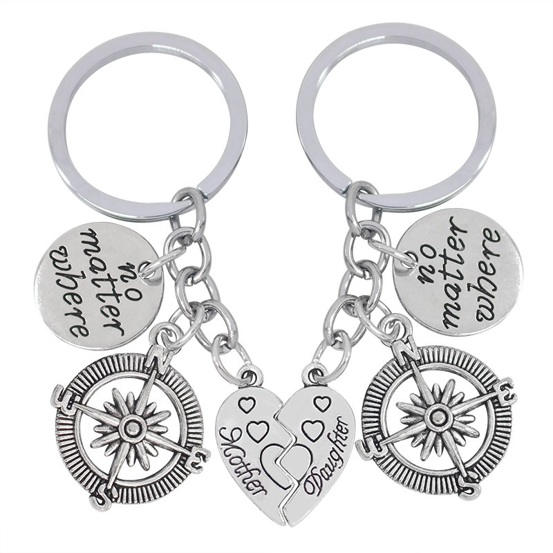 Mother And Daughter KeyChain With Letters No Matter Where Compass Pendant Broken Heart Shape Key Chain Family Key Ring For Gifts