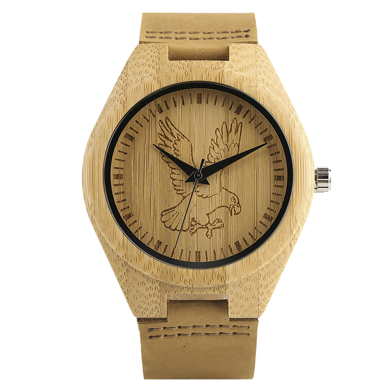 Natural Wooden Trendy Eagle Horse Pattern Bamboo Quartz Watches Casual Genuine Leather Band Strap Gift Men Fashion