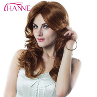 HANNE Mixed Blonde And Light Brown Color 22inch Heat Resistant Synthetic Wigs For Black Or White