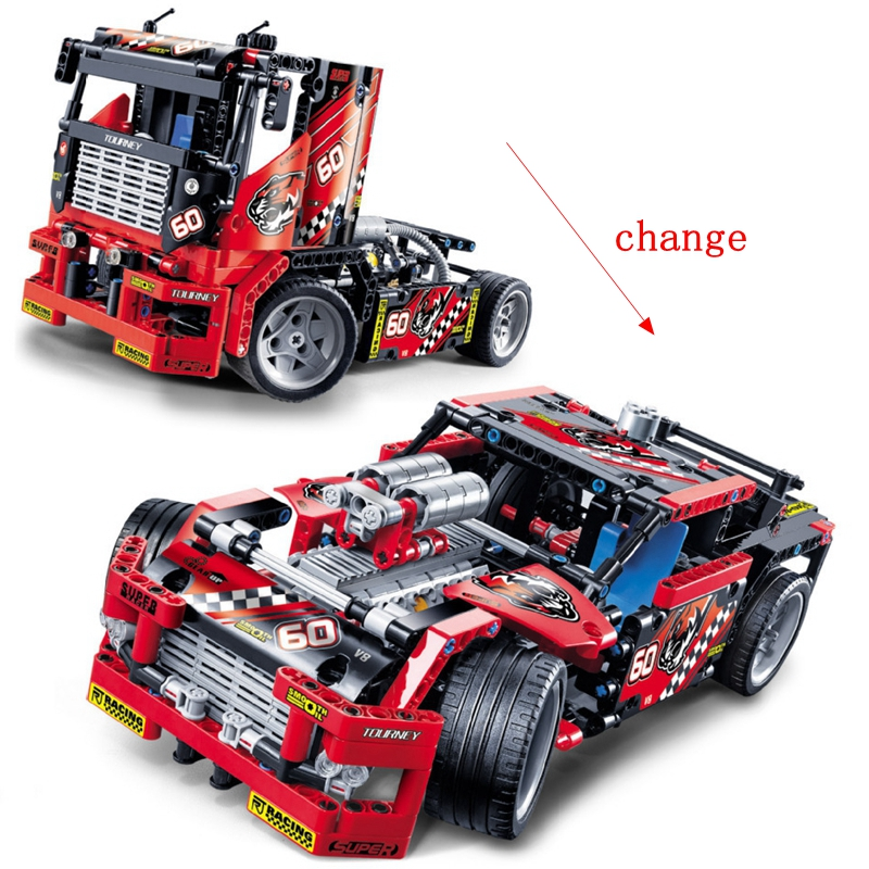 Technic 2 In 1 Race Truck Car 608Pcs Set Building Blocks Toys For Children Compatible for <font><b>Legoing</b></font> Technics <font><b>42041</b></font> image