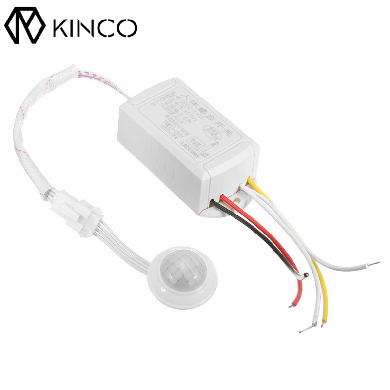 KINCO AC110V Automatic ON/OFF Save Energy Smart Home White 6 LUX PIR + Light Control Intelligent Light Body Sensing Switch