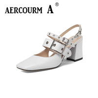Aercourm A Women Metal Button Sandals Girls Genuine Leather Sandals Lady Buckle Solid Summer Shoes 2018