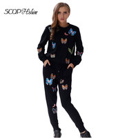 2015 Full Embroidery Tracksuit Clothing Set Winter Autumn O Neck Sport Suit Women Black White 2