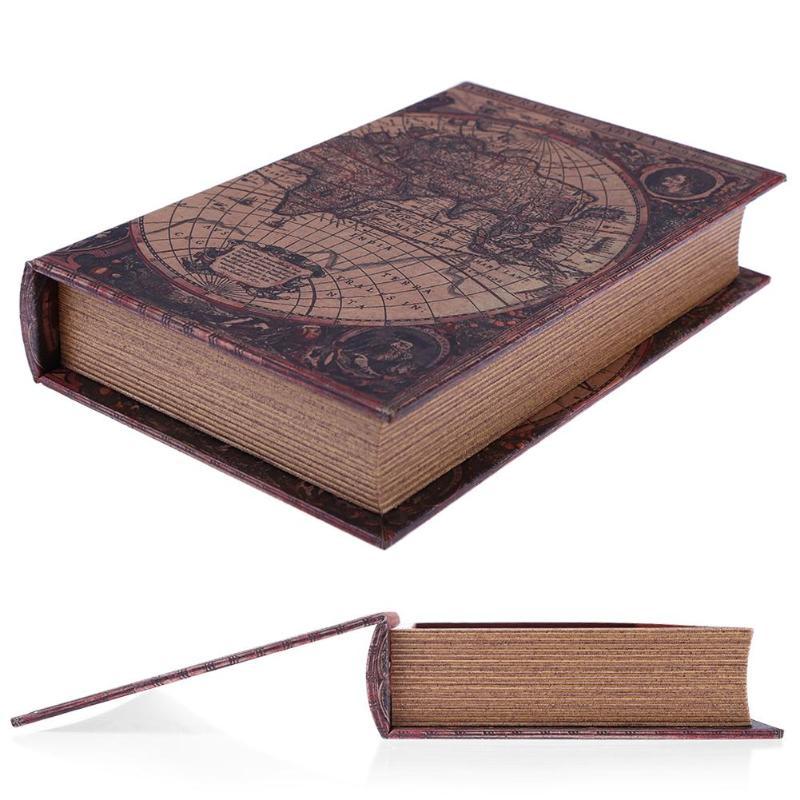 Caixa de armazenamento de madeira retro estilo europeu mapa do mundo segurança livro seguro dinheiro jóias caixa organizador caixa