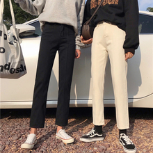 womens jeans femme 2019 nouveau Autumn Winter jean Slim High waist Loose nine black Straight pants women ladies jeans Korean