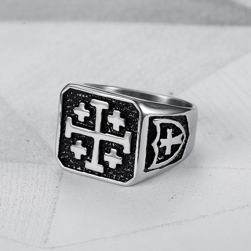 316l Stainless Steel Jerusalem Cross Ring Jesus Christ Medieval