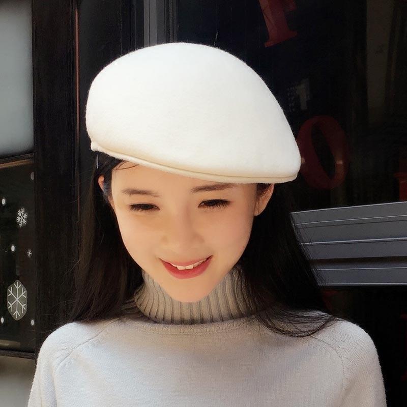 The white felt beret model noble fashion cap beret wool hat winter female beret hat advance
