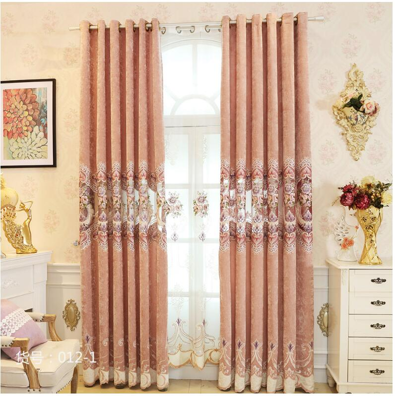 2017 European royal luxury embroidered curtain cloth with tulle for living room cashmere stitching curtains for bedroom