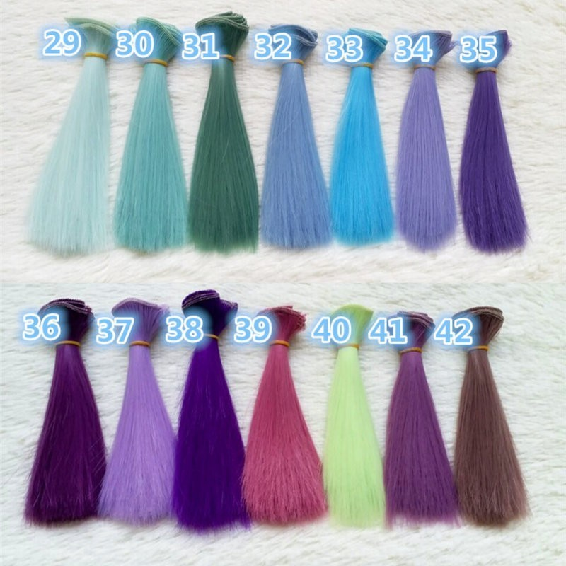 Dcm 1pc 15*100cm Doll Accessories Straight Synthetic Fiber Wig Hair  For  Handmade Cloth High-temperature Wire Diy Texitle #4