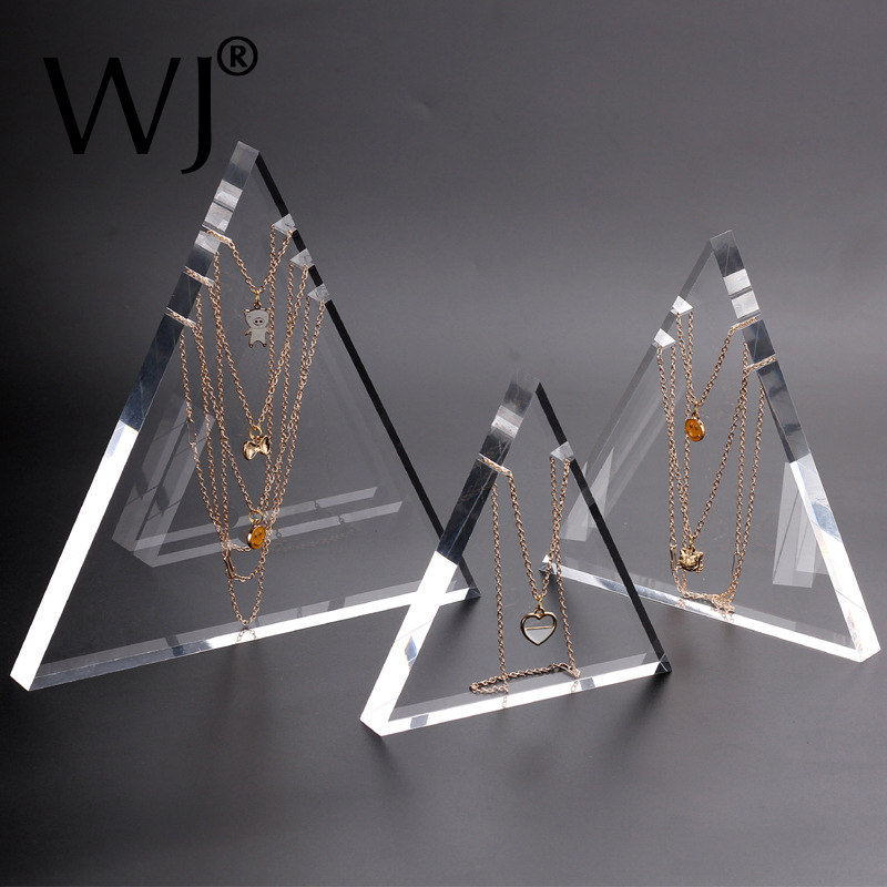 Solid Acrylic Pendant Necklace Chain Jewelry Stand Display Holder Rack Photography Prop Clear Lucite Triangle Hanging Organizer